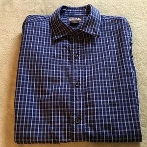 Michael Kors collared blue plaid dress shirt